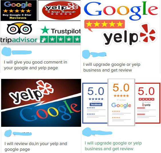 collage of ads offering to boost your Yelp rating